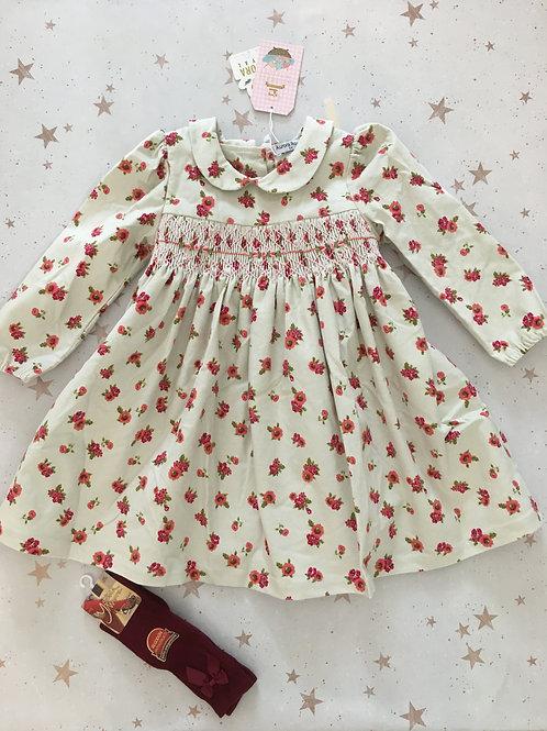 Aurora Royal Girls Rose Pattern Smock Dress