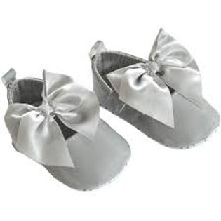 Soft Touch Baby Girls Grey Patent Pram Shoes