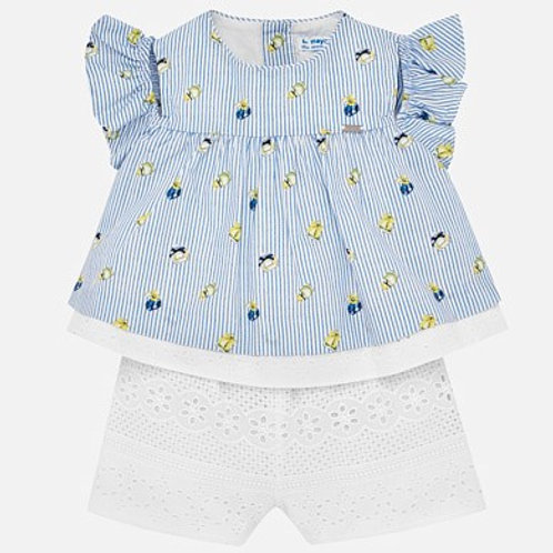Mayoral Striped Playsuit for Baby Girl with Broderie Anglaise Lace