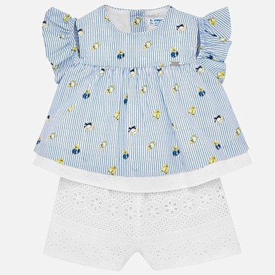 aea568c8d Mayoral Striped Playsuit for Baby Girl with Broderie Anglaise Lace