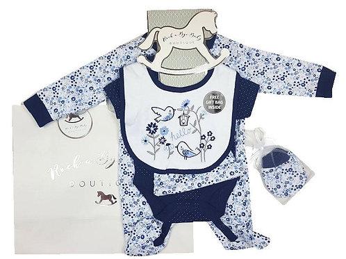 Baby Girls Navy Blue Flower Layette Set
