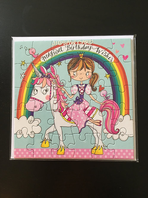 Rachel Allen Girls Unicorn Jigsaw Birthday Card