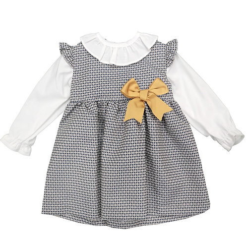 Baby Girls Dress with Frill Neck and Bow