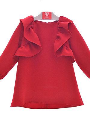 Del Sur Girls Red Crepe Dress