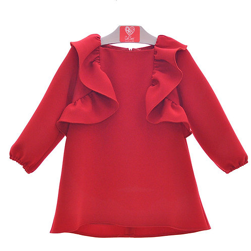 Del Sur Girls Red Crepe Dress