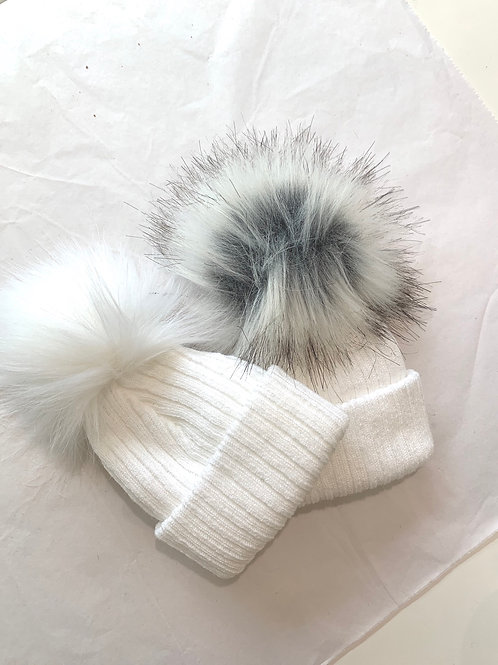 White and Grey Pom Pom Hat