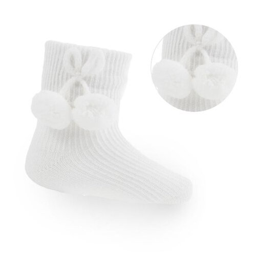 Short Pom Pom Socks in White