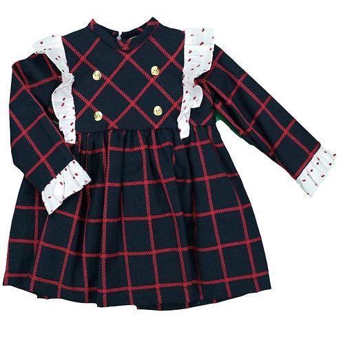Creaciones Girls Check Navy & Red Dress