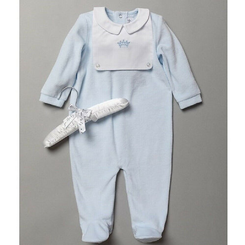 Baby Boys Blue Velour Sleepsuit