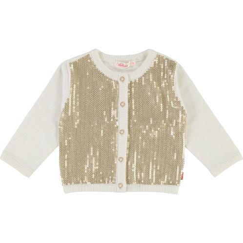 Billieblush Cream & Gold Sequin Cardigan