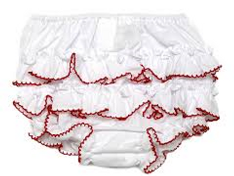 Sarah Louise White Cotton Knickers  With Red Frill