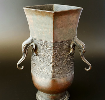 【おすすめ茶道具】時代 茶道具 古銅 象耳 花入