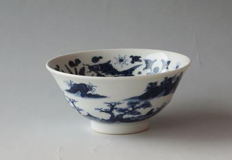 「5代 三浦竹泉 作 染付山水 茶碗」をお買取りしました。