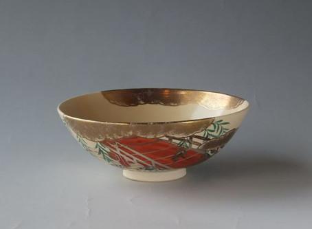 陶彩 造 色絵 柳橋絵 数茶碗