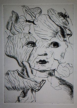 flower girl etching marie-noelle van ber