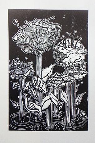 lost garden linocut marie-noelle van ber