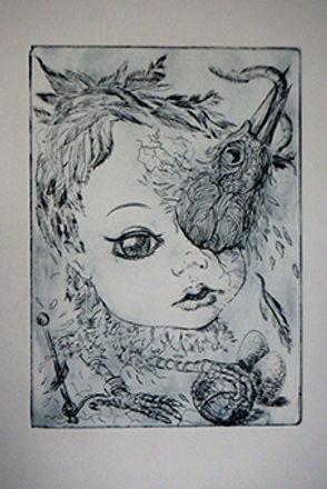bird doll etching marie-noelle van berke