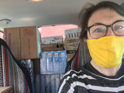 Lindsay delivering supplies