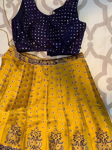 Golden Yellow & Navy Blue Lehenga