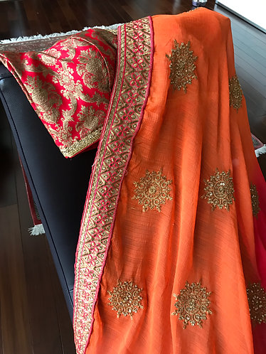 Orange to Red Ombre Chiffon Saree