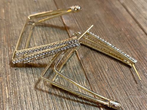 diamond rectangle earrings