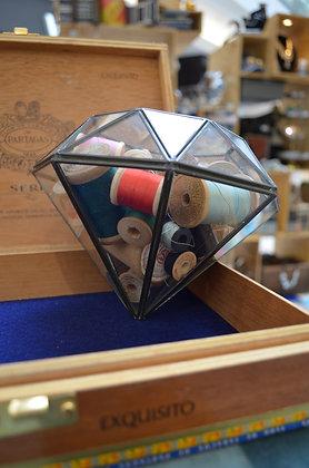 Glass Diamond with Vintage Thread