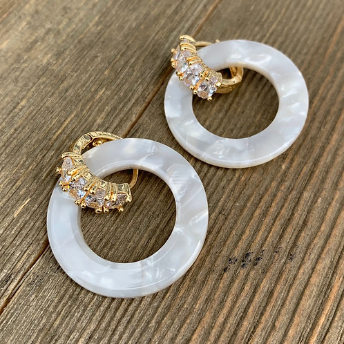 white acrylic earrings