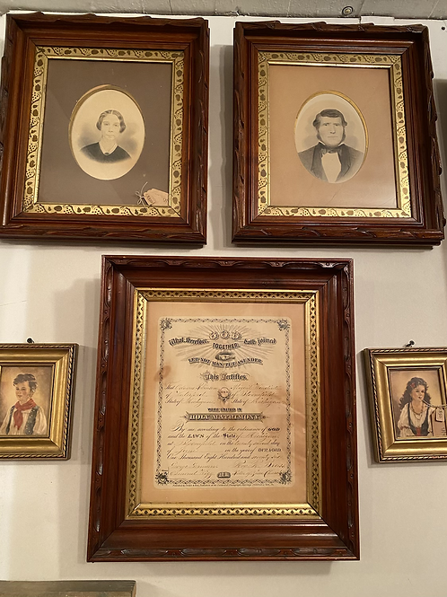 1800's Marriage Certificate and Portrait Set