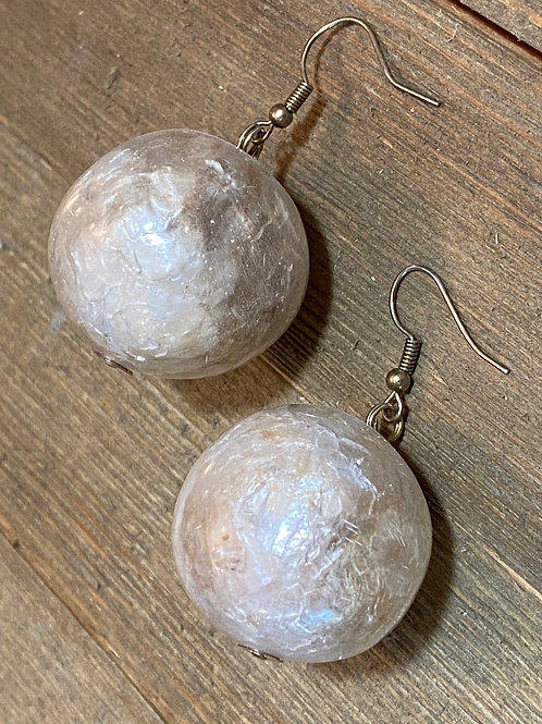 white ball earrings