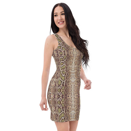 Dave Snakeskin Print Fitted Dress