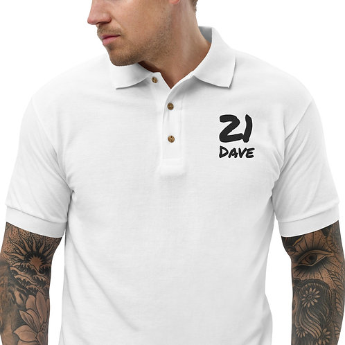 Dave '21 Embroidered Mens Polo Shirt