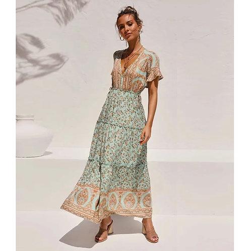 Jastie Boho Floral Printed Maxi Dress