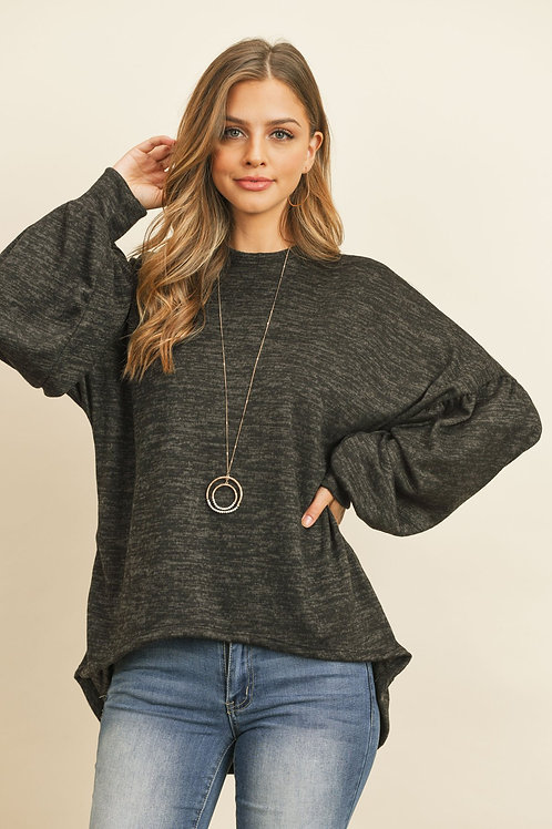 Two Tone Puff Sleeve High Low Hacci Brushed Top