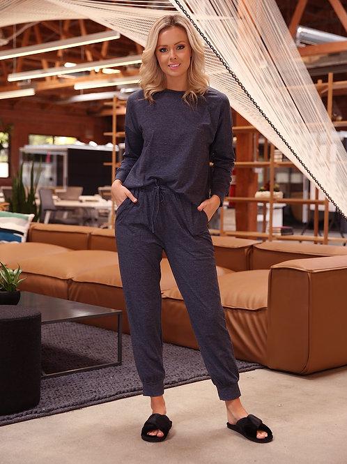 Stacy Loungewear Top & Bottom Set - Blue