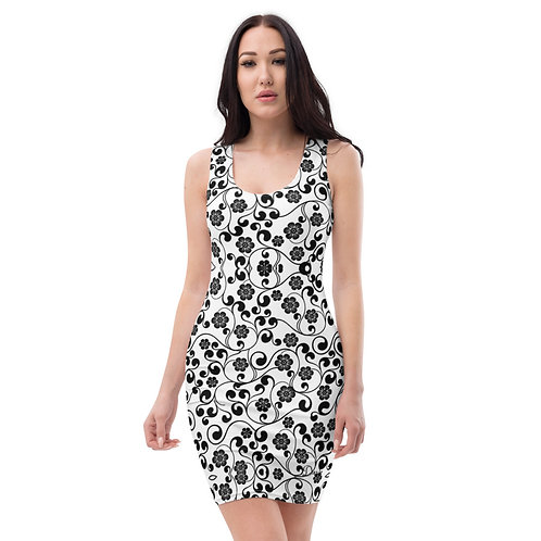 Dave Black & White Floral Print Fitted Dress