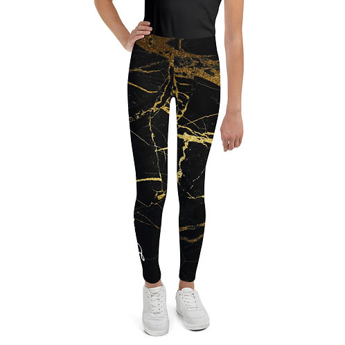 Dave Black with Gold Marble Effect Kids Leggings