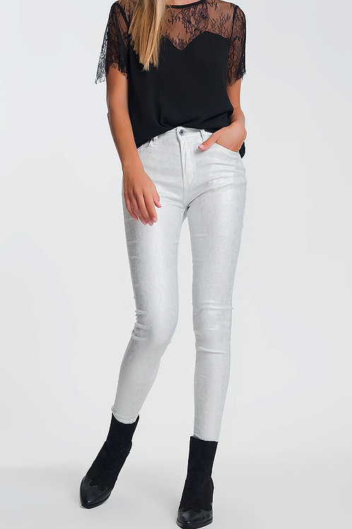 Super Skinny High Waisted Pants With Silver Sparkle in White