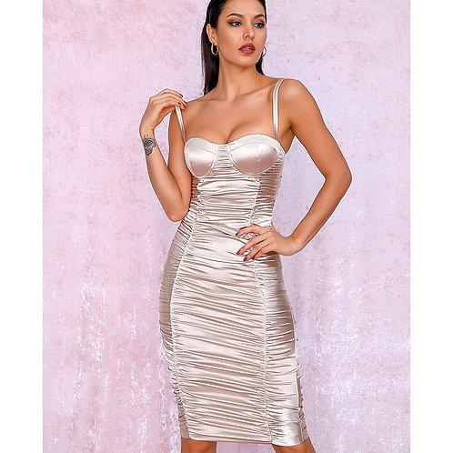 Kiara Pleated Nude Dress
