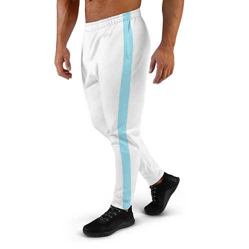 Dave White with Blue Stripe Mens Joggers