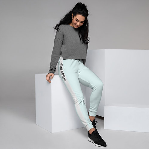Daves Gym Baby Blue With White Stripe Womens Joggers