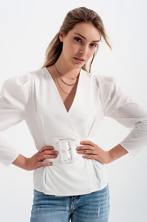 Puff Sleeve Wrap Front Top With Belt Detail in White
