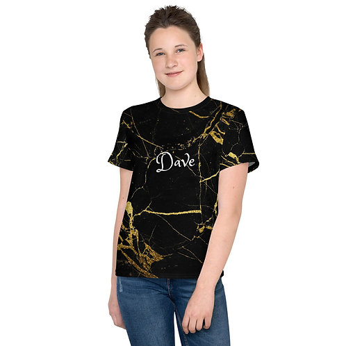 Dave Black with Gold Marble Effect Kids T-Shirt