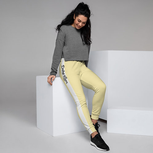 Daves Gym Pastel Yellow With White Stripe Womens Joggers