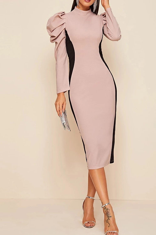 Chic & Puffed Up Colorblock Dress