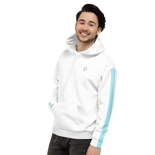 Dave White with Baby Blue Stripe Mens Hoodie