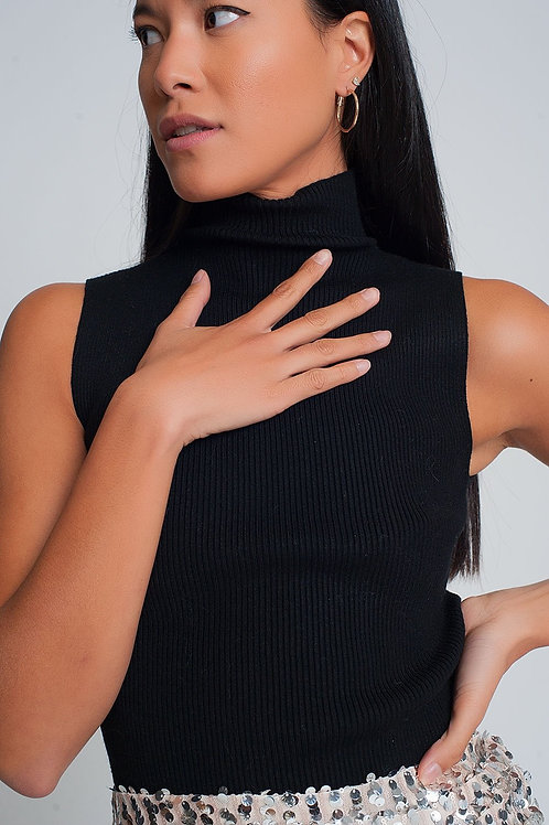 Ribbed Knit Sleeveless Sweater With High Neck in Black