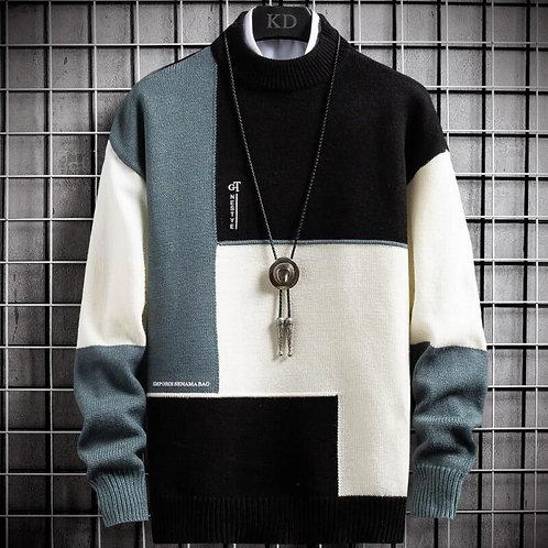 Men's Cashmere Patchwork Turtleneck  Pullover  Slim Fit