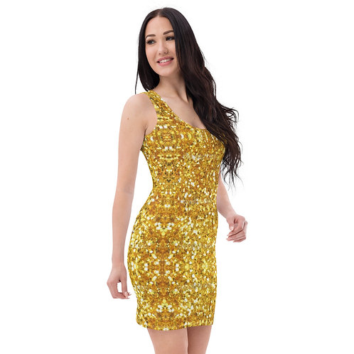 Dave Gold Glitter Effect Fitted Dress
