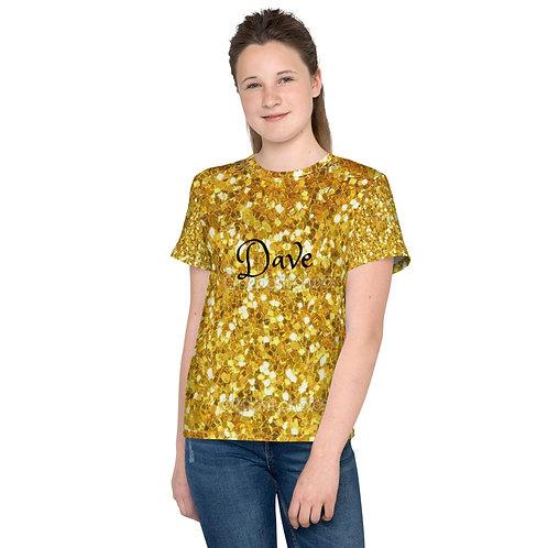 Dave Gold Glitter Look Kids T-Shirt