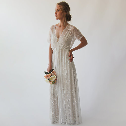 Bohemian Ivory Nude  Bat Sleeves Wedding Dress #1044
